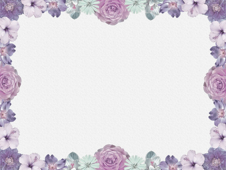 condolence: lilac flower frame, nostalgic style  Stock Photo