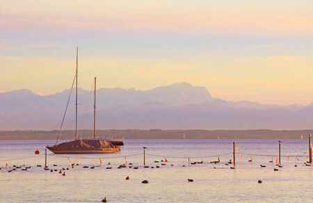 starnberger see:  Sunset scenery at starnberger see, with sailboat and zugspitze