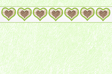 sparkled: green design paper structure with heart border, natural design