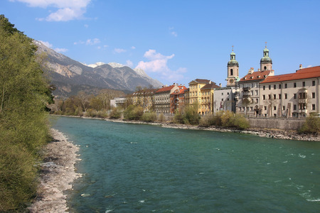 famous oldtown innsbruck and river inn, austria