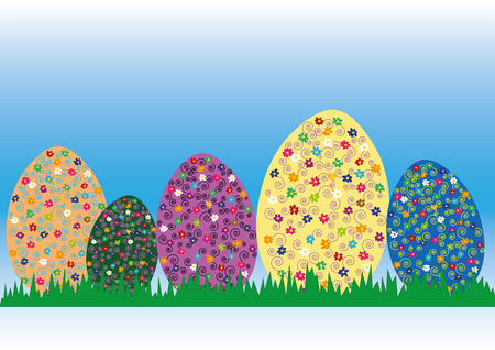 easter illustration, easter eggs with floral pattern on grass, copy space illustration