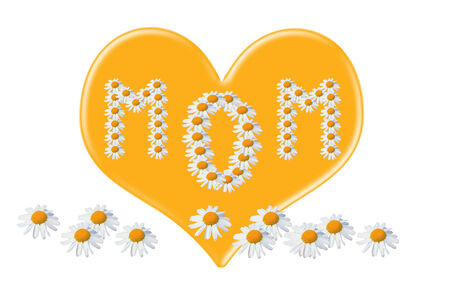marguerite: love you mom, love heart for mothers day, card design Stock Photo
