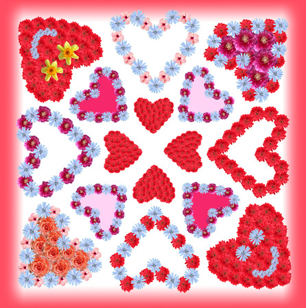 collage of flower hearts, card design with red frame photo