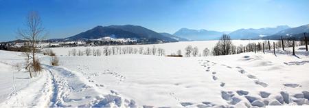 hiking trail  in winter, panorama tegernsee, bavaria Standard-Bild