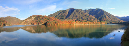 artificial lake sylvenstein in autumn, germany photo