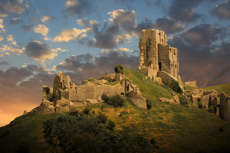 magical medieval corfe castle ruins photo