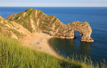durdle: durdle door and sandy beach, dorset landmark, UK