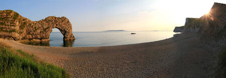 durdle door: sunset scenery at durdle door and cove, Dorset, panoramic size Stock Photo
