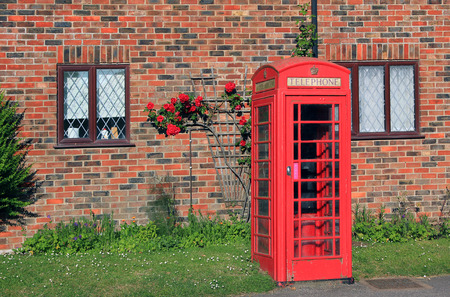 rambler: nostalgic british phone box in front of red brick wall with rambler rose