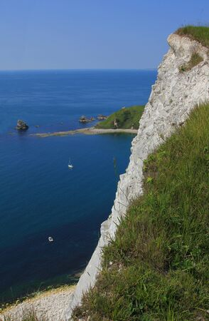 mupe bay: steep cliffs near lulworth, jurassic coast dorset, uk