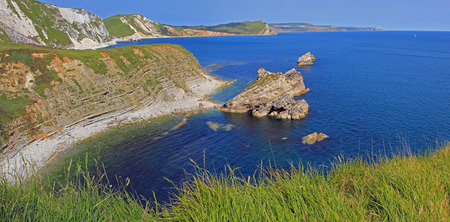 mupe bay: beautiful jurassic coast and blue ocean, dorset coastal landscape