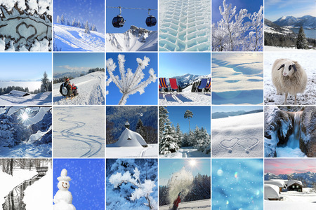 Collage - Winter impressions. Winter landscape and winter activities photo