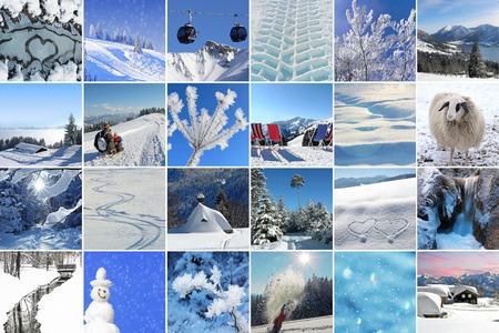 Collage - Winter impressions. Winter landscape and winter activities Standard-Bild