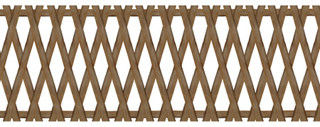 wooden trellis-work fence, isolated on white background