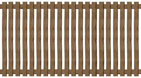 wooden paling fence, isolated on white background photo