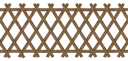 wooden brown trellis-work fence, isolated on white background