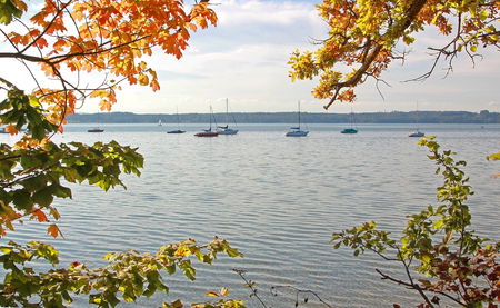 view through autumnal branches to lake starnberg and sail boats photo