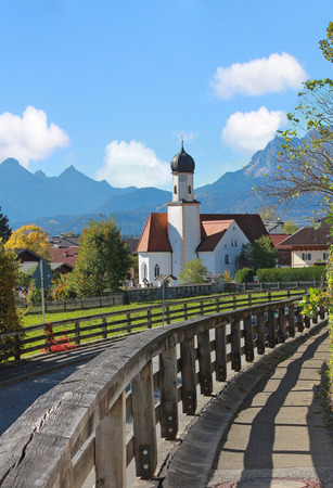 pictorial: pictorial bavarian landscape and typical chapel wallgau