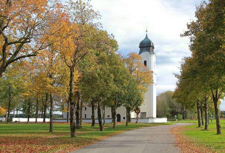 pilgrimage: catholic pilgrimage church in autumn