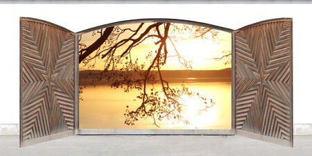 view of a wooden doorway: carved wooden double door with sunset lake scenery