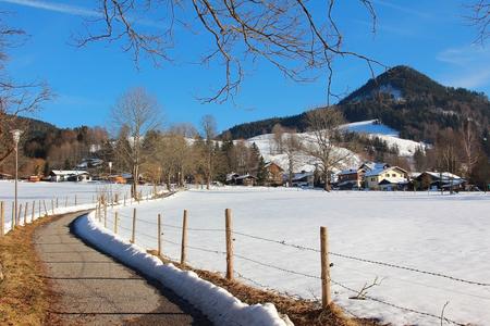 hiking road, spa town schliersee, german winter landscape photo