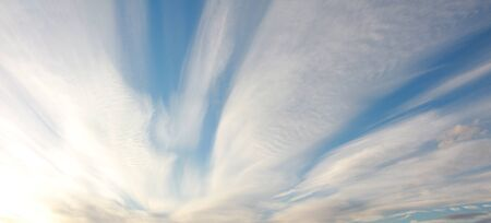 cirrus: sky with cirrus cloud formation - panoramic size Stock Photo