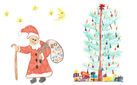 clause: Christmas tree with presents and santa clause, childish crayons drawing.