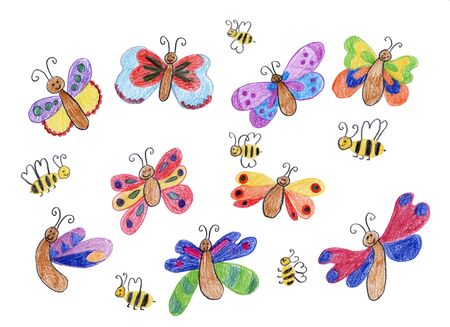 seasonally: smiling butterflies and honey bees - children drawing