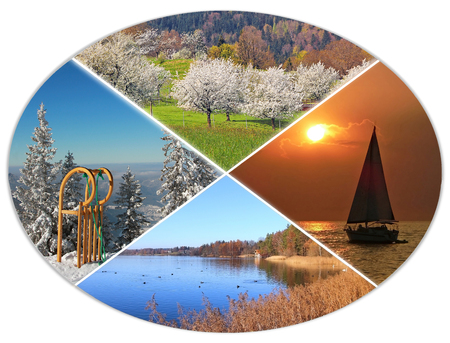 orchard: four seasons circle VIII - fruit orchard, sailboat, autumnal lake, long horn sled in the alps Stock Photo
