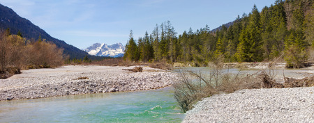 riverbed: source of river Isar riverbed in the wilderness to view Karwendel mountains