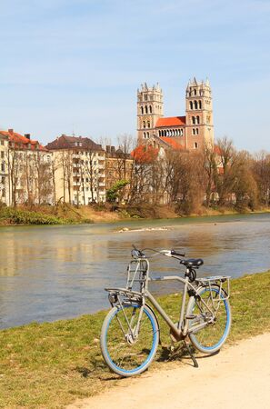 river side: Cycling along the river side of the Isar river Munich Germany
