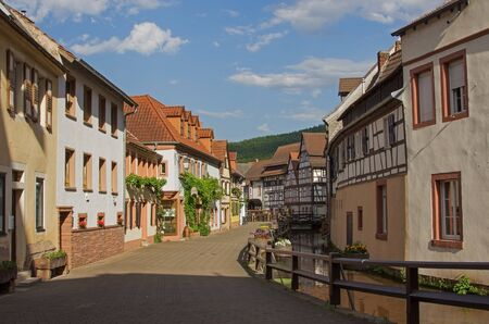 pictorial: pictorial alleyway beside millstream, annweiler village, saarland in germany Stock Photo
