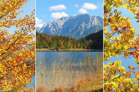 Collage - alpine lake and mountains, autumnal scenery Stock Photo