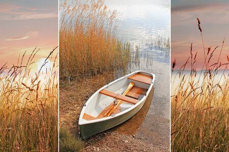 Collage - avond landschap met roeiboot en zonsondergang op de oever van het meer