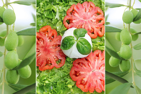 nutricion: Collage of sliced tomato and green olives Stock Photo
