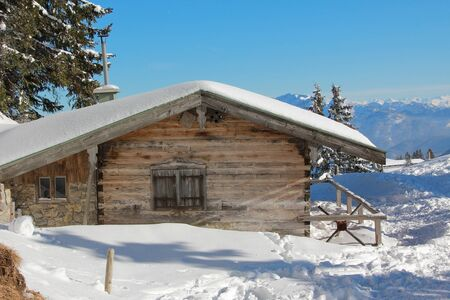 shack: idyllic snow covered mountain shack in winter germany
