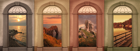 browns: background design four seasons in soft browns, landscape view through vintage archways