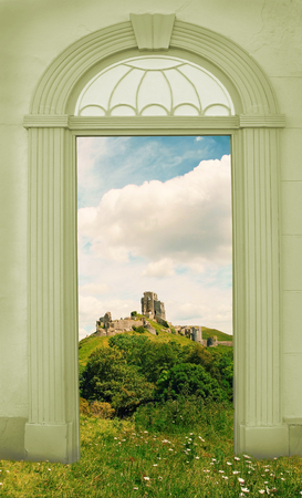 view through door: view through arched door landscape with old castle