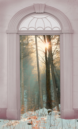 view through door: view through arched door,wintry forest with bright sunshine Stock Photo