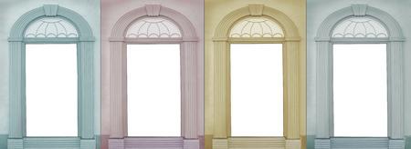 empty background design four seasons, view through vintage archways Stockfoto