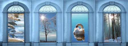 landscape view through vintage archways, blue toned