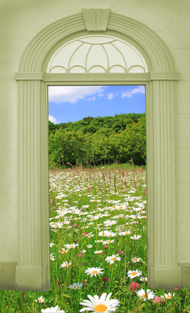 view through door: view through arched door, landscape with old castle Stock Photo