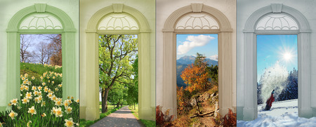 view through door: collage four seasons - narcissus, summerflowers at lakeside, autumn in the mountains, winter fun.