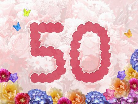 paeony: number 50 on flowers, pastel background with flowers, design for jubilee or birthday