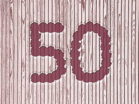 number 50: el n�mero 50 en las flores, rayas fondo de madera estilo de Asia. dise�o para el cumplea�os o aniversario