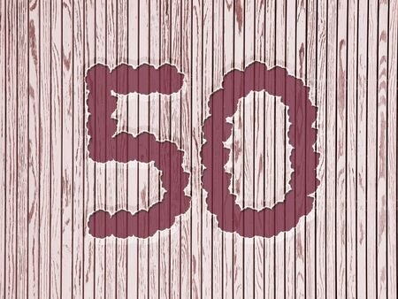 number 50: number 50 on flowers, striped wooden background asia style. design for birthday or anniversary Stock Photo