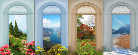 collage four seasons - mediterranean landscape, lake view, autumnal park with roses, wintry lake. Stok Fotoğraf