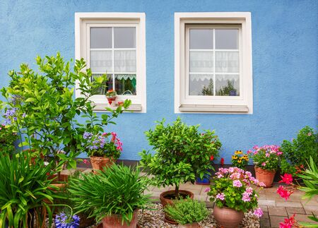 front house: blue house front with two windows and mediterranean flower pots Stock Photo