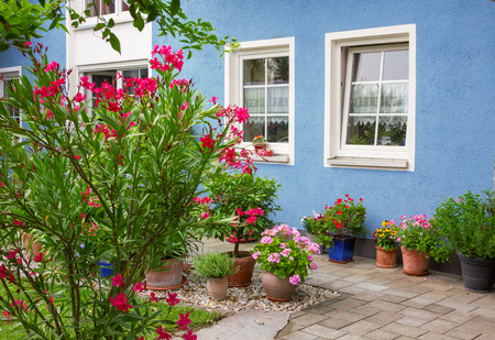 blue house front with decorative mediterranean flower pots and oleander bush