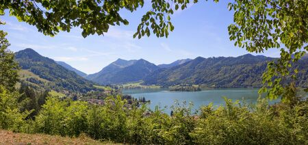 pictorial: pictorial lake view schliersee from mountain path, bavarian spa town Stock Photo